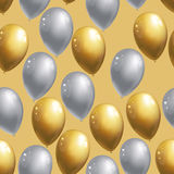 Silver and golden balloons background. Celebration party pattern. Vector illustration vector illustration