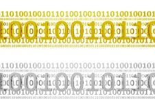 Silver and golden binary code. 3D golden and silver binary codes isolated on white Stock Photos