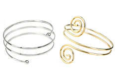 Silver and golden bracelets Royalty Free Stock Photography