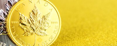 Silver and golden canadian maple leaf one ounce coins on golden background stock photos