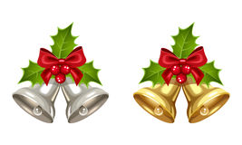 Silver and golden Christmas bells. Royalty Free Stock Photos
