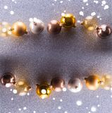 Silver and golden christmas bubbles. Flat lay frame royalty free stock images