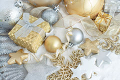 Silver and golden Christmas decorations. Ans gift boxes close up Royalty Free Stock Photo