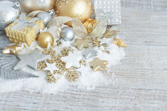 Silver and golden Christmas decorations Royalty Free Stock Images