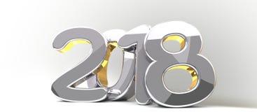 Silver golden 3d rendering symbol 2018. Illustration design Stock Photo
