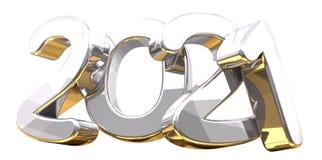 Silver golden 3d rendering symbol 2021. Illustration Royalty Free Stock Photo