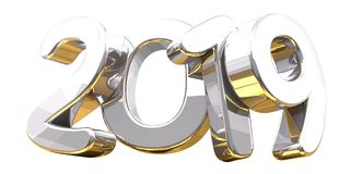 Silver golden 3d rendering symbol 2019. Illustration Stock Photography