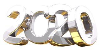 Silver golden 3d rendering symbol 2020. Illustration Stock Photos