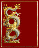 Silver Golden Dragon Greeting Card Royalty Free Stock Photography