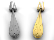 Silver and golden forks in contrast Royalty Free Stock Photos