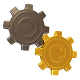 Silver and Golden Gears isolated on white backgrou Stock Photo