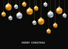 Silver and golden  hanging Christmas balls  on black  backgroun Royalty Free Stock Photography