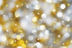 Silver and golden holiday lights royalty free stock images