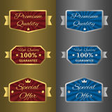 Silver and golden labels Stock Image