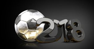 2018 silver golden reflection soccer football ball front of mode. Rn dark background 3d rendering illustration Royalty Free Stock Images