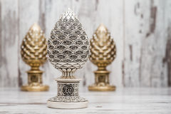 Silver and Golden Religious Statuettes with the Names of Allah. The God written on them Royalty Free Stock Images