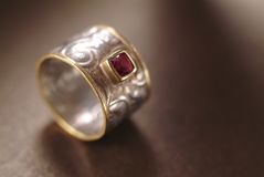 Silver and golden ring Royalty Free Stock Photos
