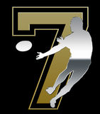Silver and Golden Sevens Rugby Emblem on Black. Background Royalty Free Stock Photo