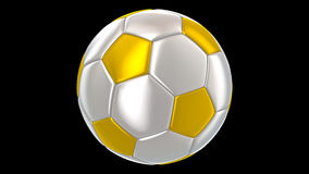 Silver golden soccer ball rotating alpha channel stock video