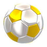 Silver and gold soccer ball isolated Royalty Free Stock Photography