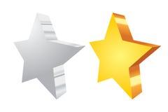 Silver and golden vector stars Stock Photos