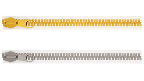Silver and Golden Zipper Royalty Free Stock Images