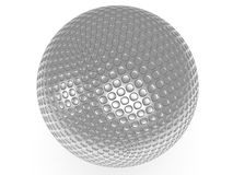 Silver golf ball isolated on white. 3d render. Royalty Free Stock Photo