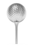 Silver golf ball on tee isolated on white Royalty Free Stock Photo