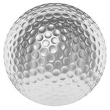 Silver golfball isolated on white. Golf sport competition winning and golf trophy concept: silver shiny golfball isolated on white background 3d illustration Stock Photo