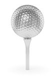 Silver golfball on tee isolated on white. Golf sport competition winning and golf trophy concept: silver shiny golfball on tee with shadow isolated on white Stock Photos