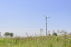 Silver grass field with wind power generator Stock Images
