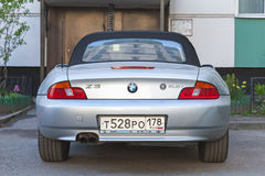 Silver gray BMW Z3 car, rear view Stock Images