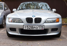 Silver gray BMW Z3 car stands on the roadside Royalty Free Stock Images
