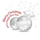 Silver gray Christmas baubles with bow. Glitter balls with silver ribbon and bow against white background with dots and stars stock illustration