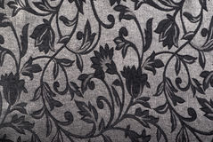 Silver gray floral tapestry design fabric with texture Stock Photos