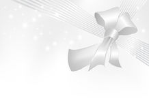 Silver gray ribbon with bow Royalty Free Stock Image