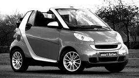 Silver and Gray Smart Forto Coup Stock Photo