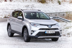 Silver gray Toyota RAV4 Hybrid SUV car. Trondheim, Norway - October 16, 2016: Silver gray Toyota RAV4 Hybrid SUV Royalty Free Stock Photos