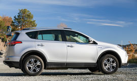 Silver gray Toyota RAV4 Hybrid Stock Photography