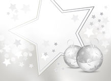 Silver gray and white Christmas background. Christmas design with baubles and stars and grey-to-white background gradient vector illustration