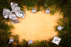 Silver and green Christmas frame Royalty Free Stock Photo