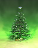 Silver Green Christmas Tree. A silver green Christmas tree rendered on a green background Royalty Free Stock Image