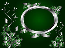 Silver and Green Floral Background Stock Photography