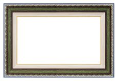 Silver and green frame. On a white background, isolated stock photo