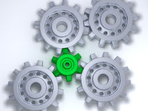 Silver and green gears. It's 4 silver gears, with a little green in the middle stock illustration