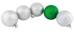 Silver And Green Glitter Christmas Ornaments Royalty Free Stock Photo