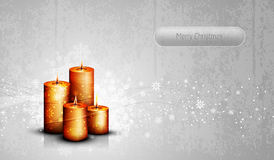 Silver Greeting Card with Candles Royalty Free Stock Photography