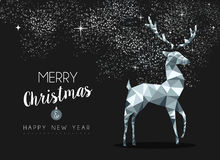 Silver greeting card for christmas with deer Royalty Free Stock Photography