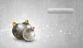 Silver Greeting Card with Christmas Globes Stock Images
