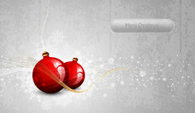Silver Greeting Card with Red Christmas Globes Stock Photos